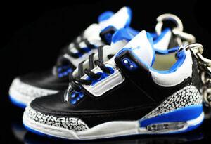 pretty nice 57d82 a43fa ... buy air jordan 3 iii retro cement sport blue og sneakers 3d keychain  shoe box figure