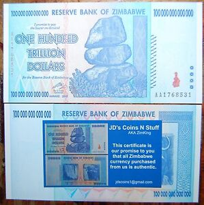 Details About Zimbabwe 100 Trillion Dollars Banknote Shipped From Usa