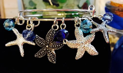 4 Star Fish Silver charms /& Ocean Colored Bead Charms Expandable Bangle Bracelet