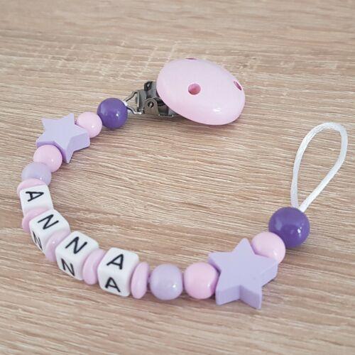 lila Baby Geschenk rosa Schnullerkette mit Namen Sterne Mädchen