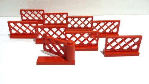 8 x  LEGO® 3185 Zäune Gartenzaun Gitterzaun zuzüglich 1x Gartentor rot gebraucht