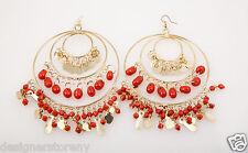 Kenneth Jay Lane Gold 3 Ring Gypsy Hoop Coral drops earrings