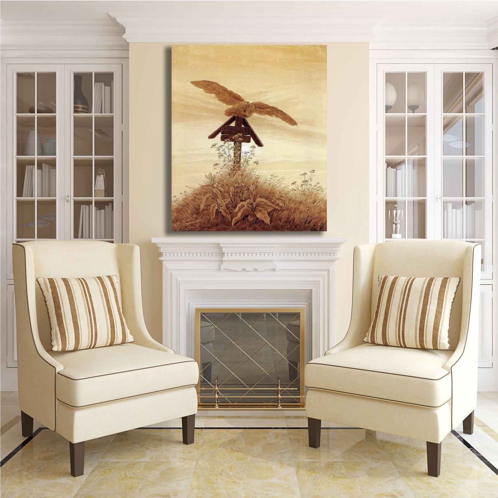 Caspar gufo sulla sulla gufo lapide design quadro stampa tela dipinto telaio arRouge o casa ff9dd6