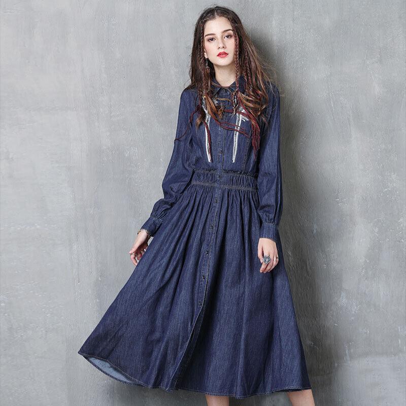 Vintage Women's Shirt Dress Long Sleeve Embroidery Button-Up Denim Dress FL63