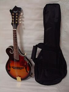 Hand Carved Solid Spruce Top F Style Mandolin, Libre Gig Bag, Sunburst, Brand New-afficher Le Titre D'origine Qhlok08c-07160537-434622302