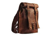 Indian Real Genuine Leather Vintage Roll Top Backpack / Rucksack Rolling Bag 002