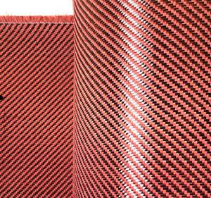 TEJIDO DE CARBONO// ROJO 100CM X 100CM 3K PLAIN
