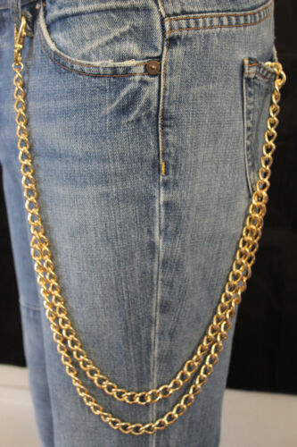 Men Gold Metal Wallet Chains Links KeyChain Jeans Biker 2 Long Strands Strong