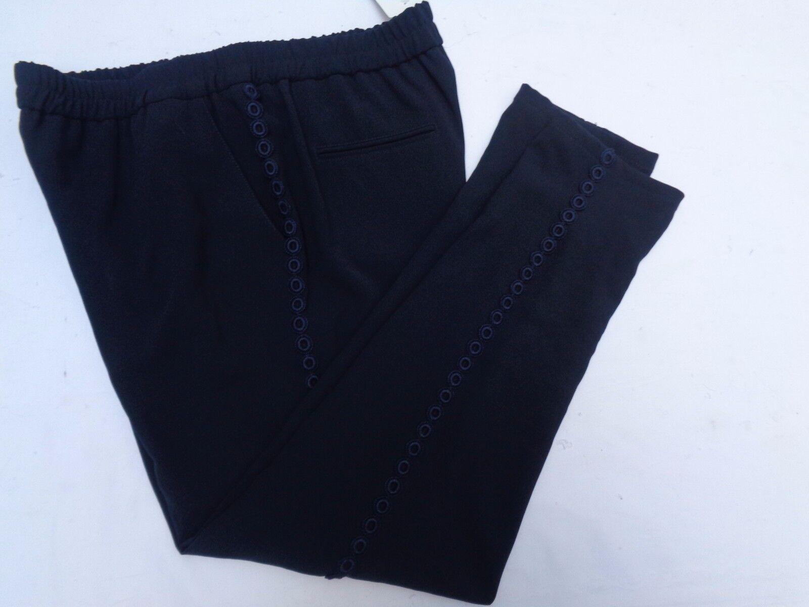 Rene Lezard pantalones señora tamaño 42 azul con  borde de tela flores de arriba a abajo  ahorra hasta un 80%