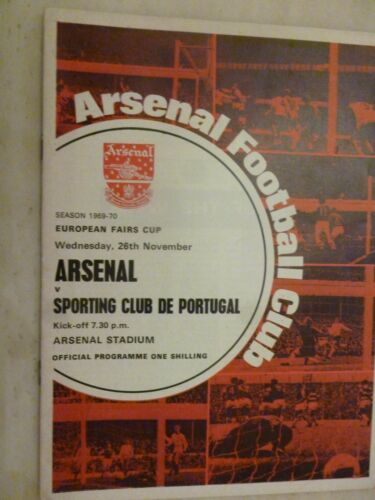 196970 European Fairs Cup ARSENAL v SPORTING CLUB DE PORTUGAL, 26 Nov