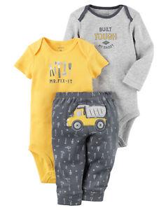 Carters Preemie Newborn Baby Boy Clothes 3-Piece Bodysuit Pants Set ... f65fdb2ac
