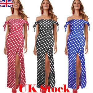 071c6c72180 Boho Women Summer Holiday Polka Dot Maxi Dress Off Shoulder Long ...
