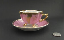 PINK AND GOLD W 3 FEET SHAFFORD  ANTIQUE CABINET TEA CUP AND SAUCER