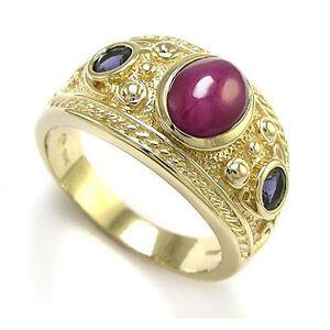 Men S 14k Gold Three Stone Genuine Ruby Sapphire Ring