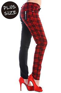 Banned Red Check Half Black Split leg Trousers Jeans Pants PLUS ...
