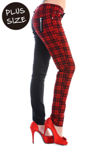 Banned Red Check Half Black Split leg Trousers Jeans Pants PLUS SIZE 18 20 22