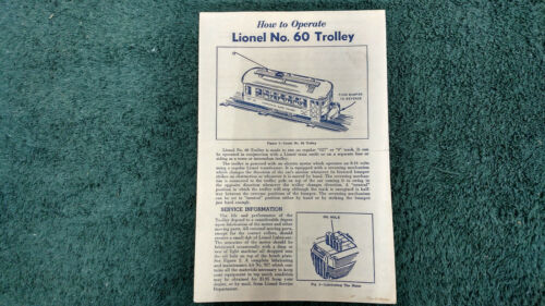 LIONEL # 60 TROLLEY INSTRUCTIONS PHOTOCOPY