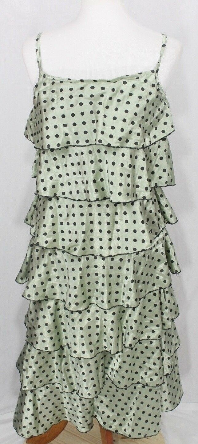 Orna Farho Womens 12 Dress polka dotted green tiered Paris French swing