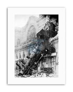 MEMORABILIA-TRAIN-CRASH-MONTPARNASSE-PARIS-FRANCE-Poster-Travel-Sport-Canvas
