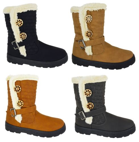 LADIES NEW FAUX FUR LINED WARM WINTER GRIP SOLE SNOW BOOTS ANKLE SHOES SIZE 4-9
