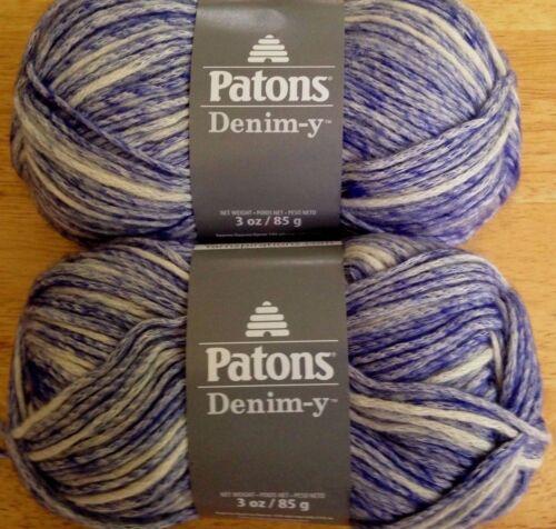 Patons Denim-Y Yarn  Lot of 2  ROYPLE DENIM  Cotton//Wool//Acrylic Blend