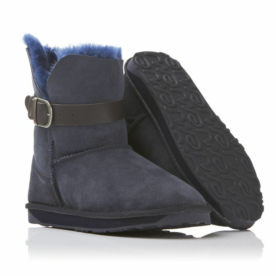 Rare Emu Angel Lo Buckled Strap Indigo Navy Sheepskin Shearling Ankle Boots 8