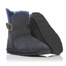 Rare Emu Angel Lo Buckled Strap Indigo Navy Sheepskin Shearling Ankle Boots 8