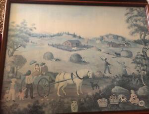 Signed HARVEST Print by Martha Cahoon, Framed Cape Cod Folk Art Horse Farm Art
