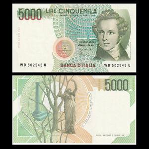 Italy-5000-5-000-Lire-1985-P-111-Signature-vary-UNC