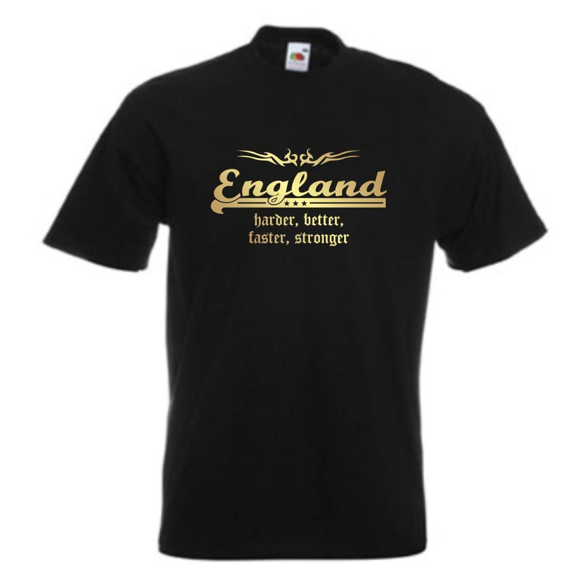 T-Shirt ENGLAND harder better faster stronger Tribal Golddruck (WMS07-19a)
