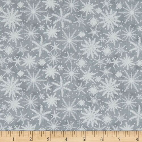 Henry Glass YARD Christmas Fabric Holiday Wishes White Snowflakes on Gray