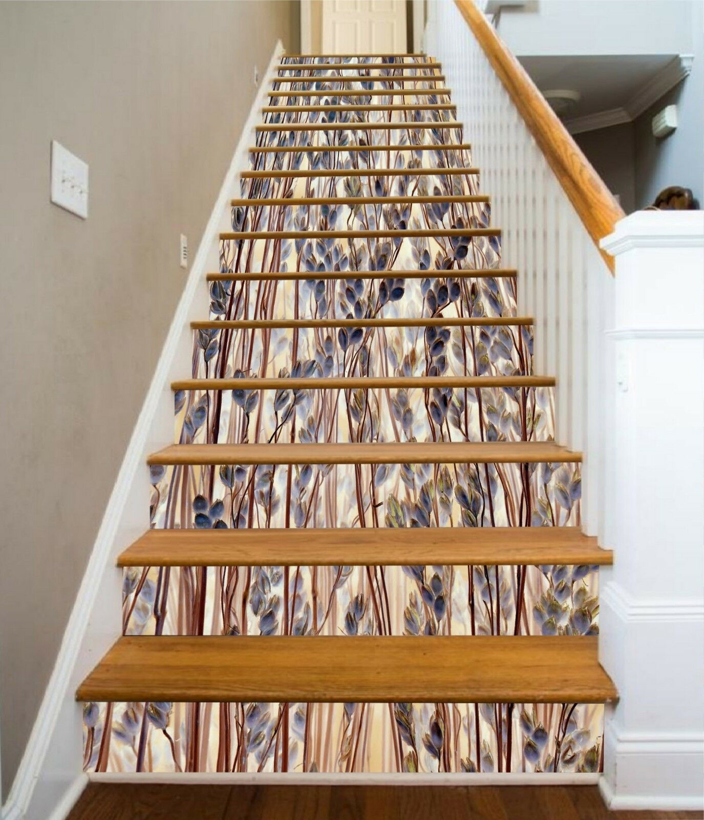 3D Reed Pattern 4 Stair Risers Decoration Photo Mural Vinyl Decal Wallpaper CA