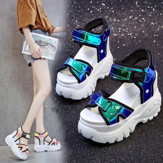 Fashion Womens High Wedge Heels Slingback Sandals Platform Peep Toe Casual Shoes