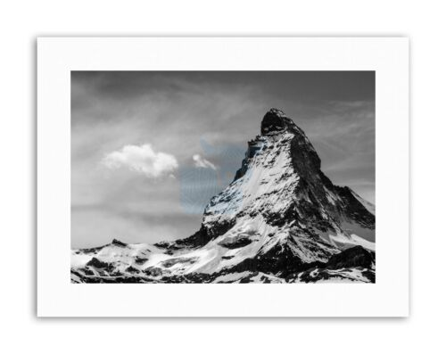 Matterhorn Alps Mountain Black White Canvas Art Print