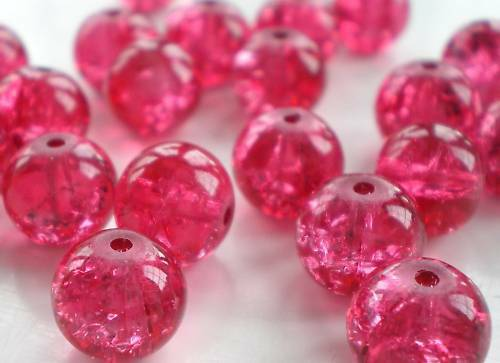 C12M9 20 x 12mm Pink Crackle Beads,Postage Discount