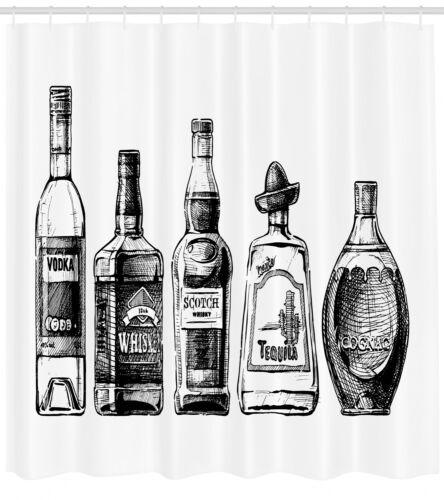 Alkohol Duschvorhang Tintenzeichnung Getränke