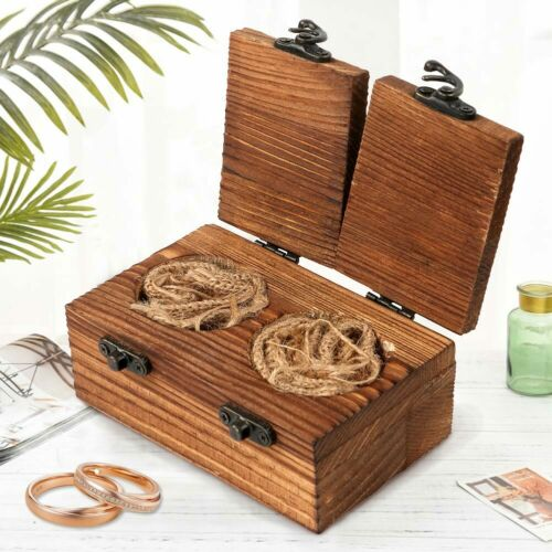 Vintage Wooden Wedding Ring Box Engagement Ring Bearer Box Holder Jewelry Boxes