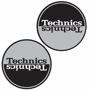 Technics-60661-PAIR-Slipmat-Moon-1-SILVER-BLACK-Mirror-Original-Brand-New