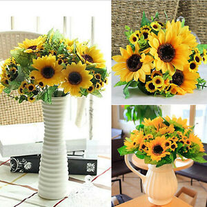 Image Is Loading Fake Silk Artificial 14 Heads Sunflower Flower Bouquet