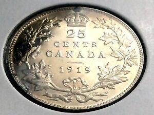1919-Canada-Twenty-Five-25-Cent-Quarter-Canadian-George-V-Whizzed-Coin-L035