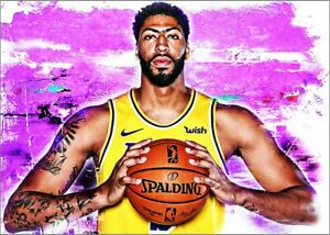 2021-Anthony-Davis-Los-Angeles-Lakers-10-25-Art-ACEO-Sketch-Print-Card-By-Q