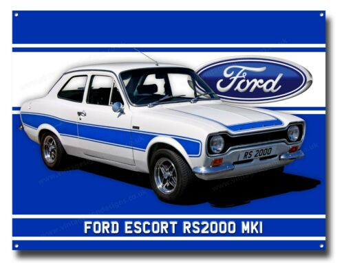 FORD ESCORT RS2000 MKI METAL SIGN.SIZE 16 X 12 CLASSIC FORD CARS,MAN CAVE SIGN