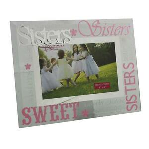 Glass-6-x-4-Photo-Frame-with-Mirror-glass-amp-Glitter-Letters-Sisters