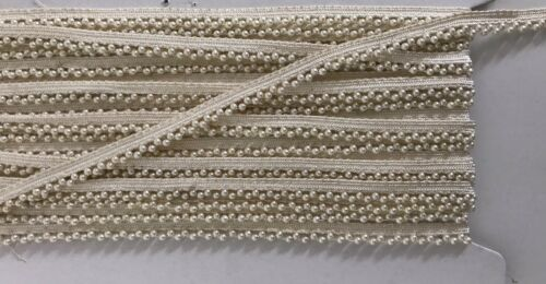 SOLD by MTR ATTRACTIVE INDIAN TINY DOUBLE CREAM PEARL BEADS ON CREAM LACE TRIM