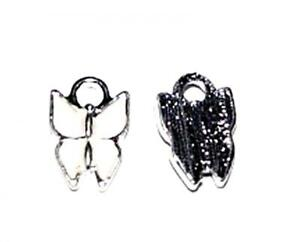 10, 50 or 100 SILVER PLATED WHITE BUTTERFLY CRAFT CHARMS