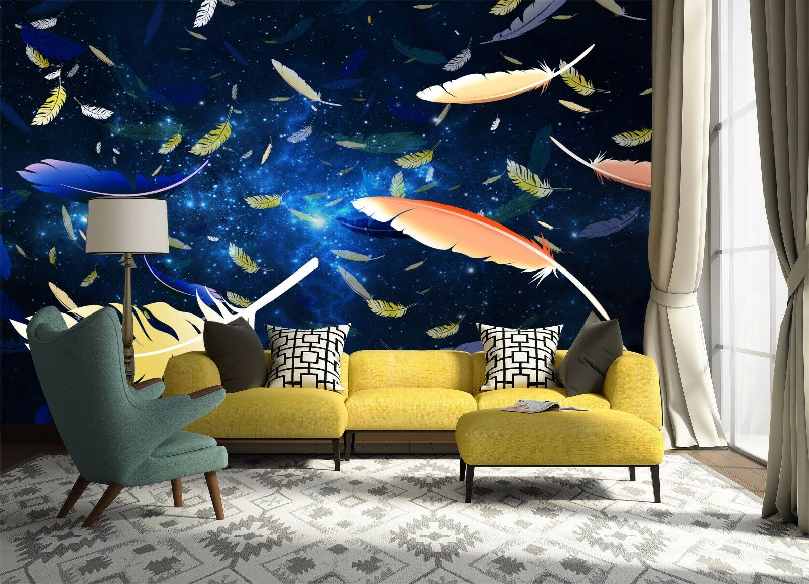 3D color Feather 365 Wall Paper Wall Print Decal Wall Deco Indoor AJ Wall Paper