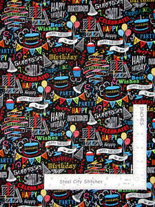 Happy-Birthday-To-You-Party-Balloons-Cotton-Fabric-Hi-Fashion-C5064-By-The-Yard