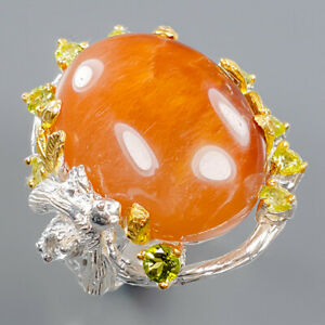 Rutilated Quartz Ring Silver 925 Sterling Fine art Jewelry Size 9.5 /R140847