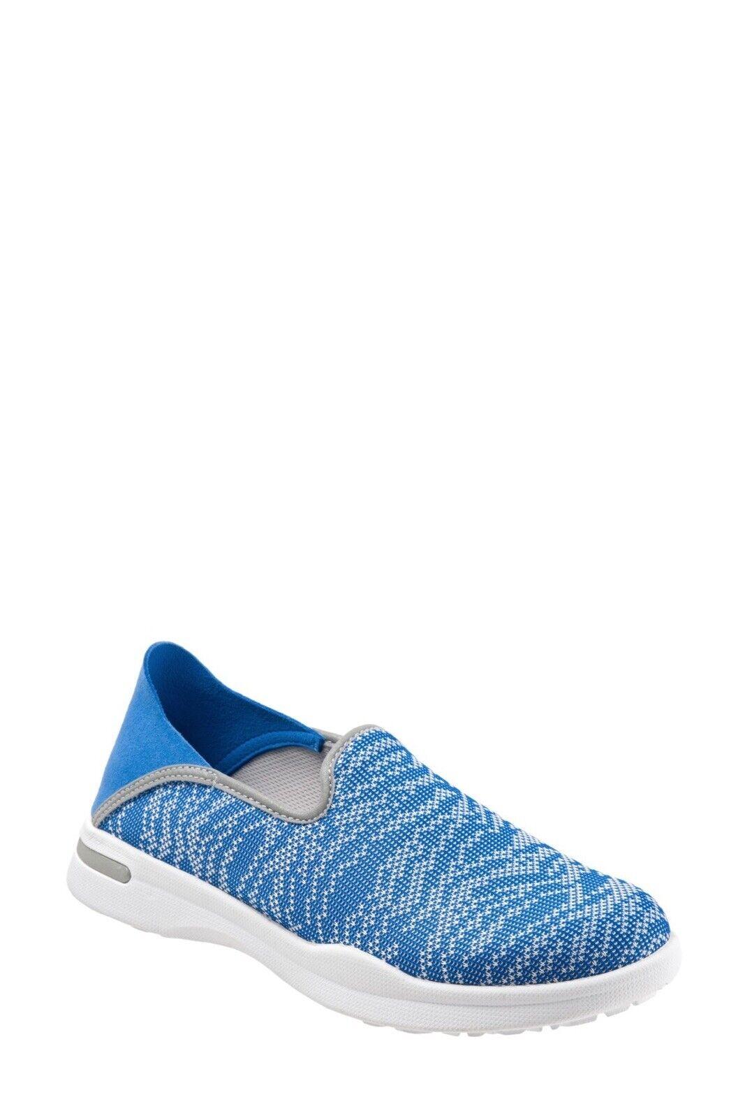 NEW SoftWalk Congreenible Slip-On Simba Knit Flat Sneaker Drop Down Heel bluee 9W