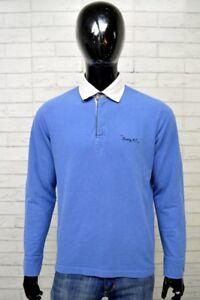 Polo-HARVEY-Uomo-Taglia-Size-L-Maglia-Camicia-Shirt-Man-Cotone-Maglietta-Blu